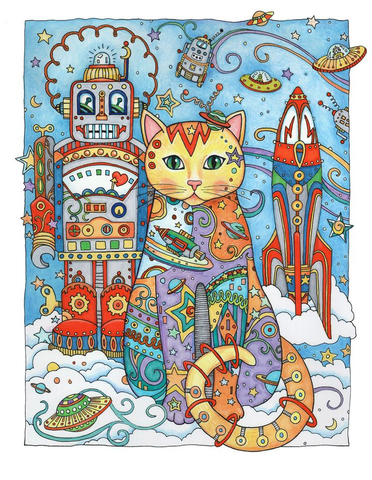 Rich and vibrant colors echo a look of 1950s toys. Image ©Marjorie Sarnat from   Creative Cats Coloring Book .