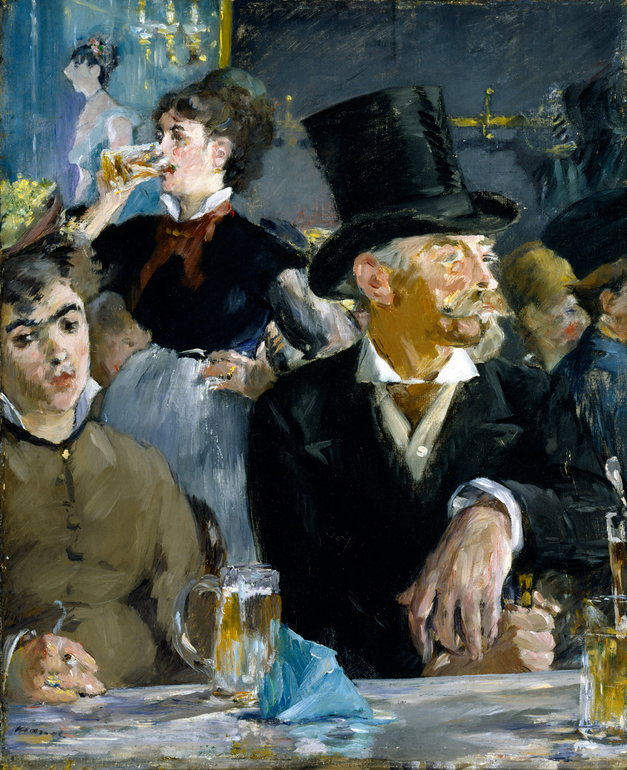 """Edouard Manet - At the Café"" – This is a study of both warm and cool as well as contrast. (Licensed under Public Domain via Wikimedia Commons)"