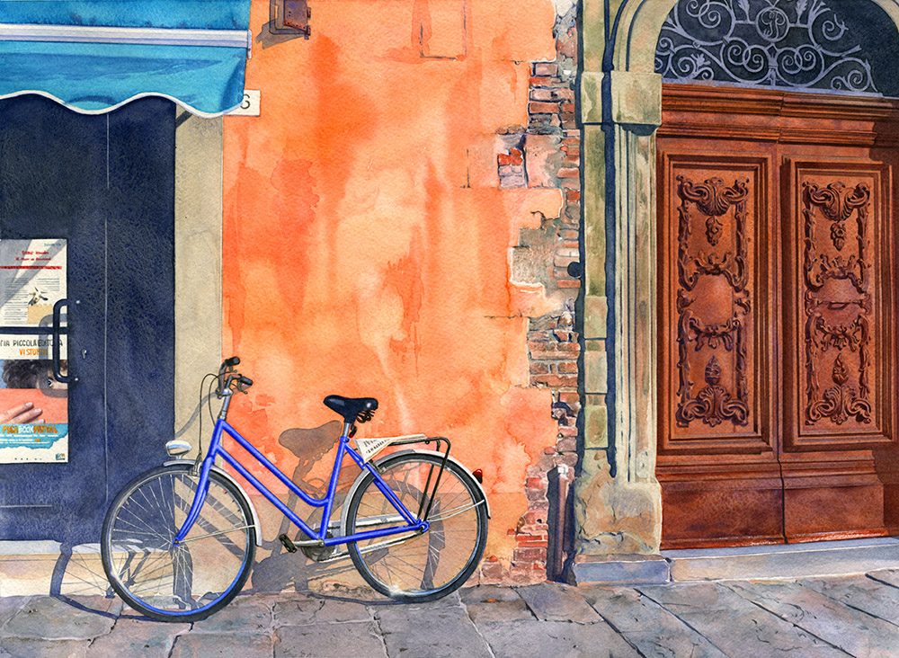 PISA BIKE, WATERCOLOR – © MARYANN THOMAS