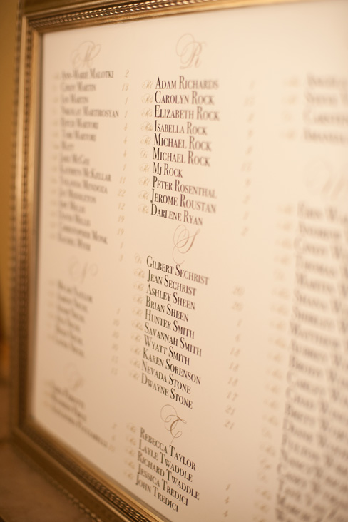 gold framed seating chart