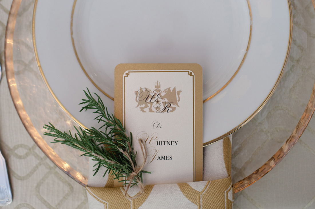 gold and white place cards