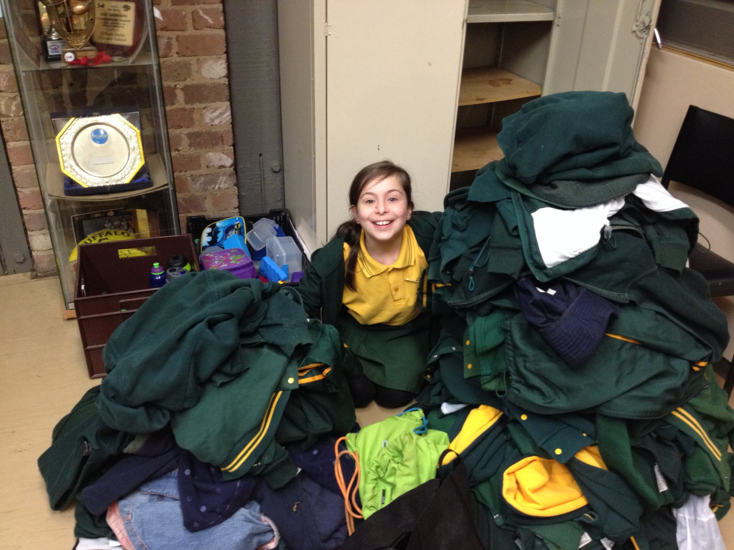 Grace is sitting on the lost property pile