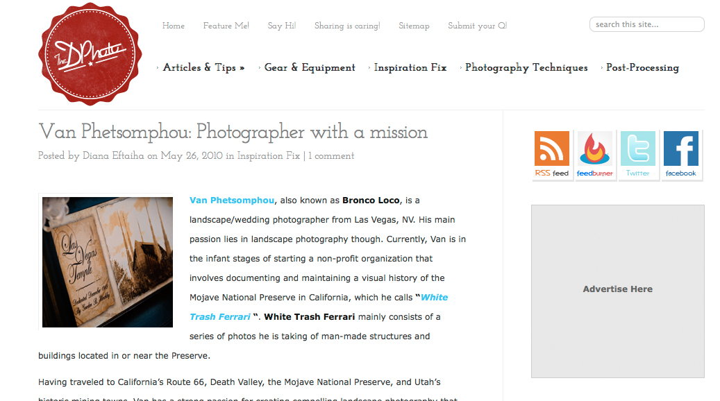 Featured photographer on DPhoto website - May 2010