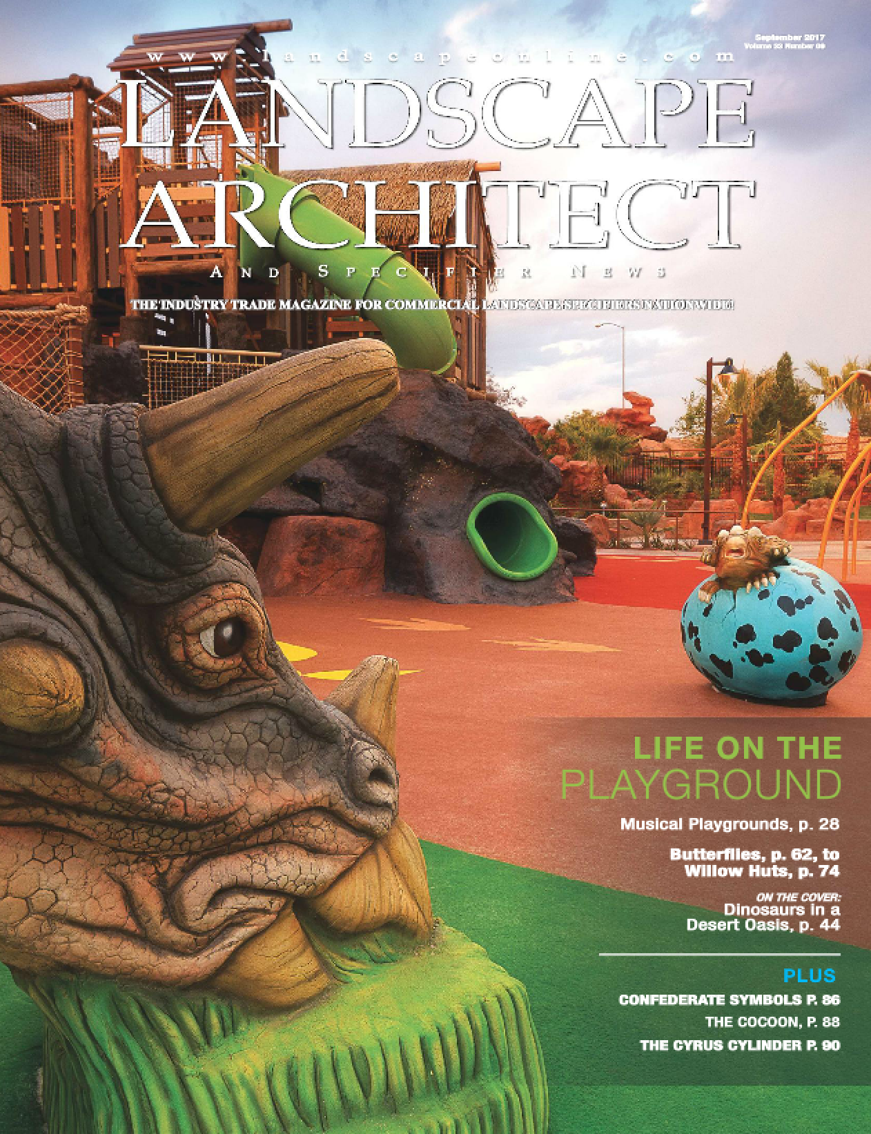 Featured on the front cover of Landscape Architect and Specifier News - September 2017
