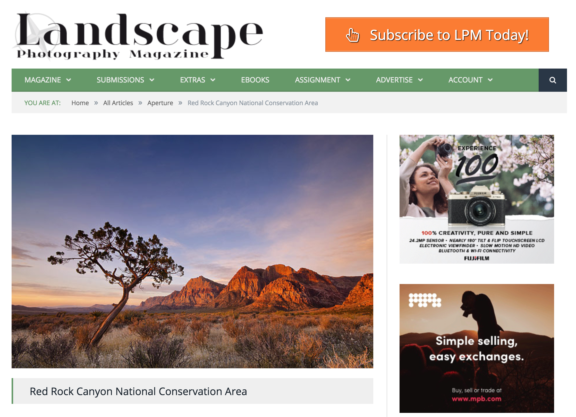 Featured article and photography in Landscape Photography Magazine - December 2012