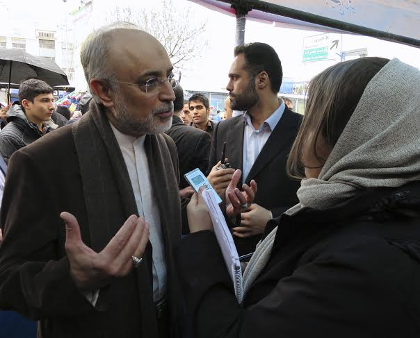 Interviewing Ali Akbar Salehi, head of Iran's Atomic Energy organization, in the streets of Tehran, 11 Feb 2015. Photo: Per Luthander