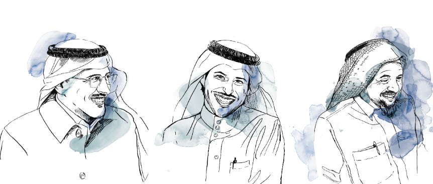 Three imprisoned Right Livelihood Award Laureates. From the left: Mohammed Fahad al-Qahtani, Waleed Abu al-Khair and Abdullah al-Hamid. Picture from www.rightlivelihoodaward.org/