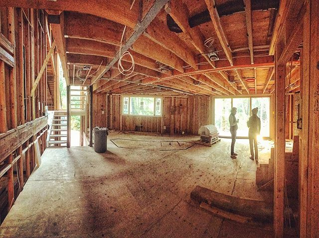 Things are well underway at the Lake Oswego remodel. . This large open main floor feels spectacular.  It's hard to even remember that this used to be chopped up into 5 separate (small and dark) rooms/spaces!!