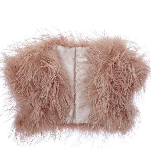 Blush Ostrich Feather Bolero
