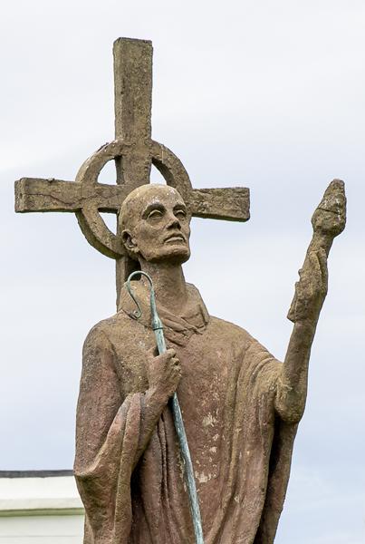 Statue of St Aidan on Lindisfarne island