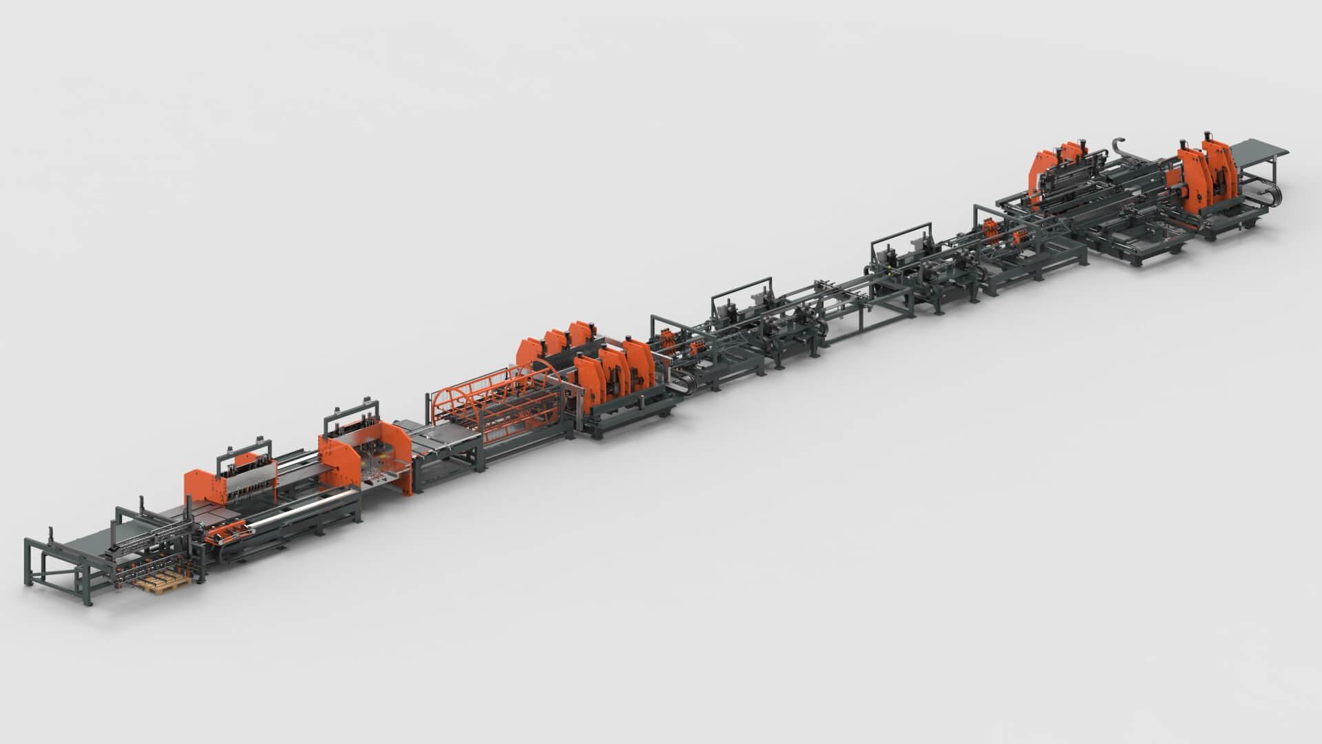 Blechbearbeitung Stanzen Biegen Clinchen Produktionslinie für Fachbodenregale