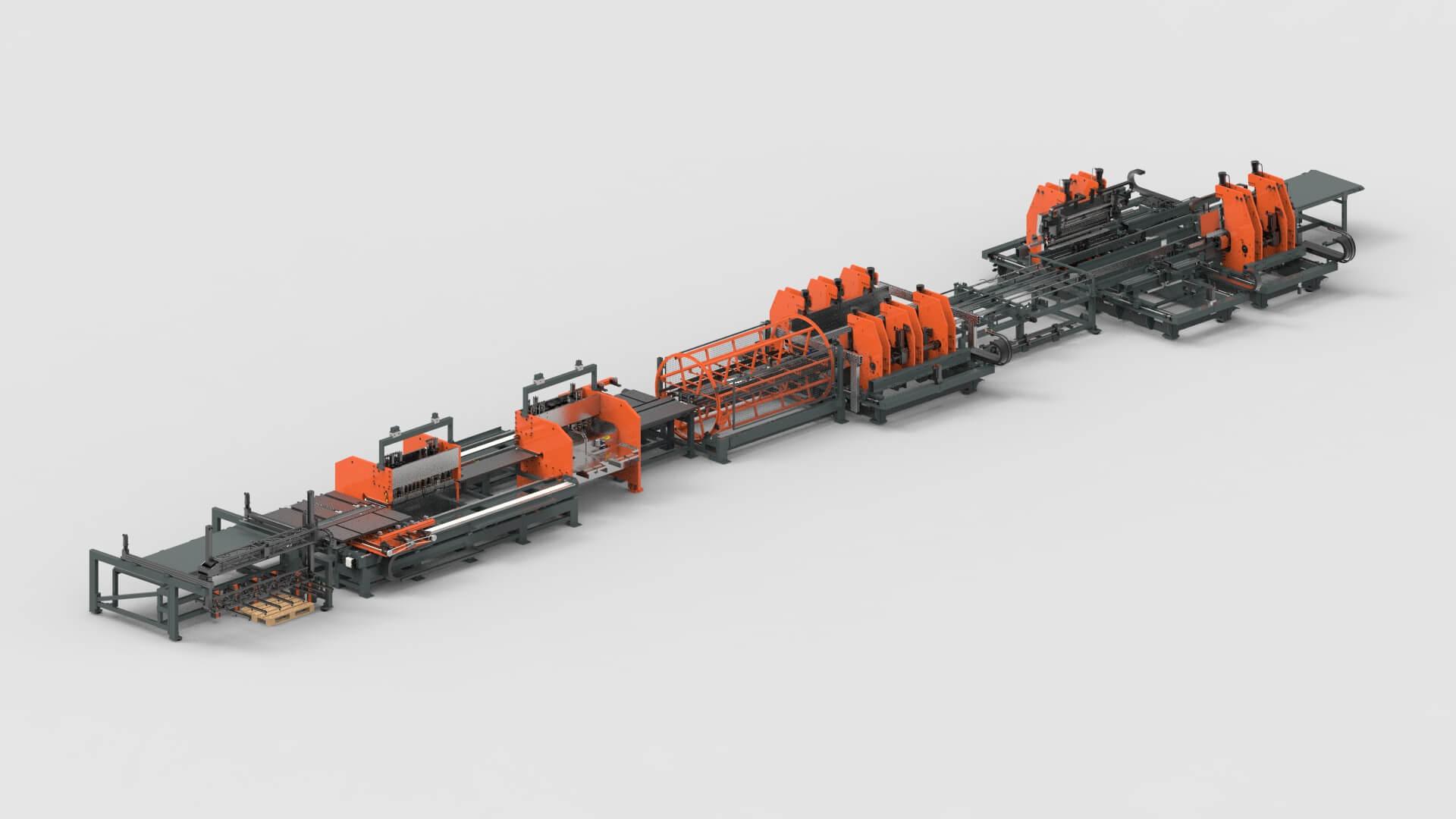 Blechbearbeitung Stanzen Biegen Produktionslinie für Fachbodenregale