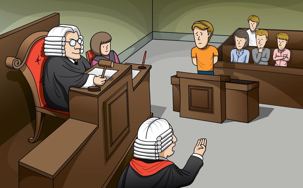 Defendant in court trial