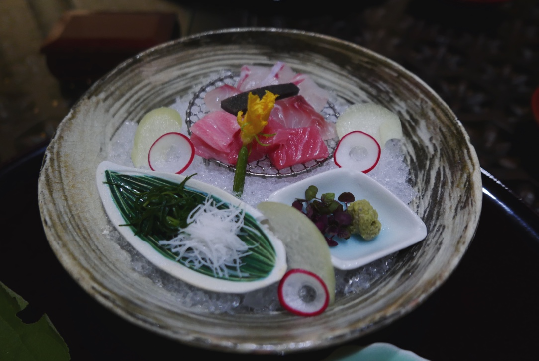 Three kinds of seasonal sashimi with salt mousse and tosa soy sauce.