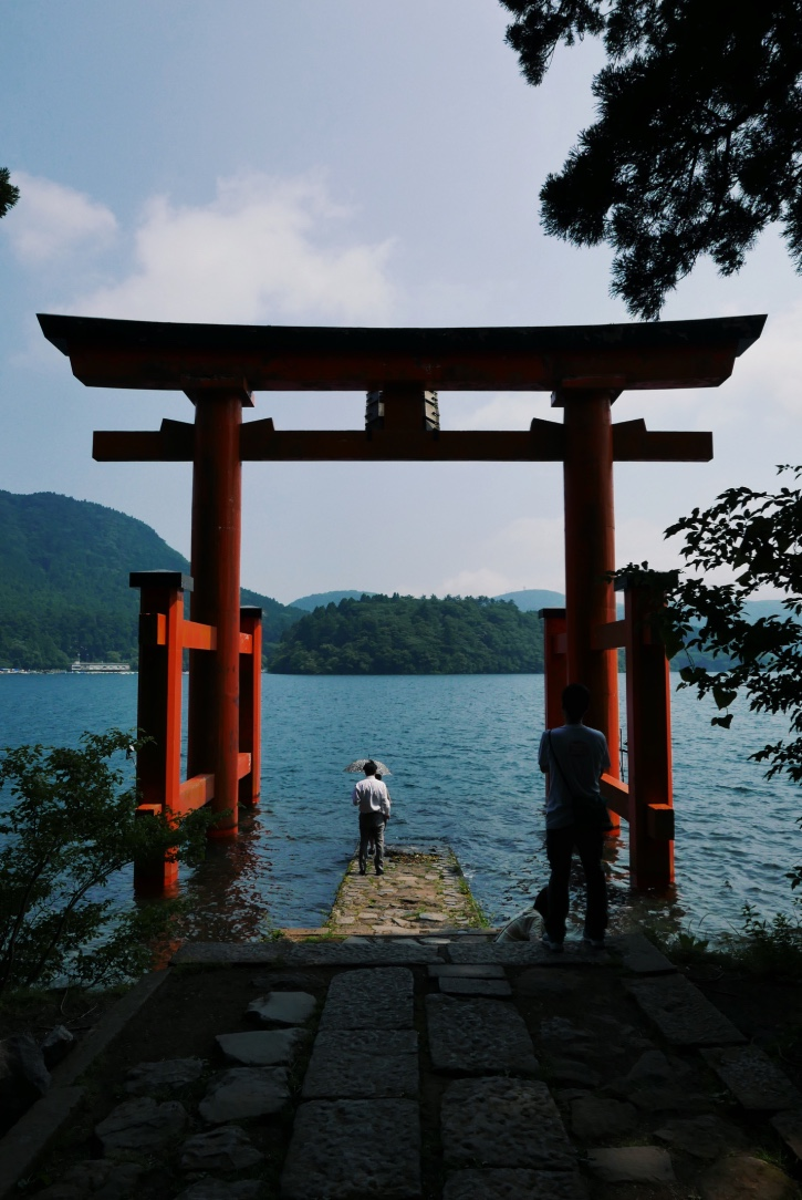 The Hakone Shrine's lakefront torii.