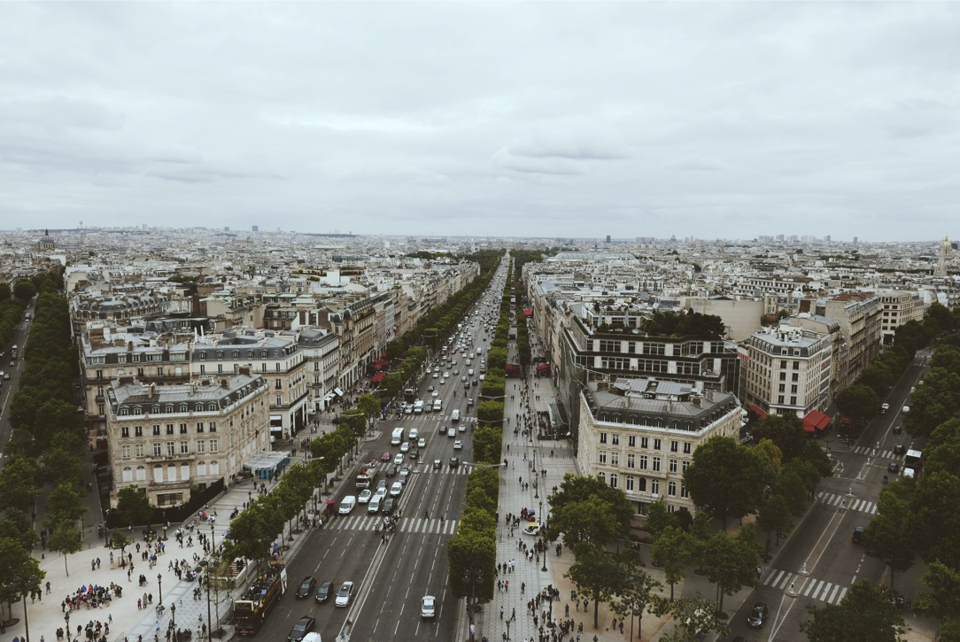 Champs-Elysees as seen from the roof platform of the Arc de Triomphe.