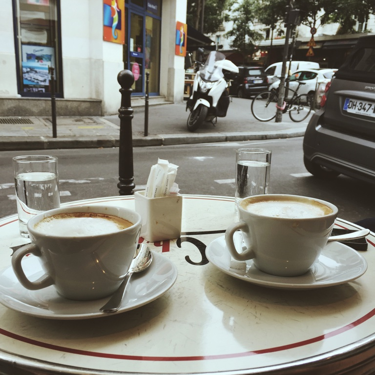 A mid-day cappuccino break at Cafe Charlot.