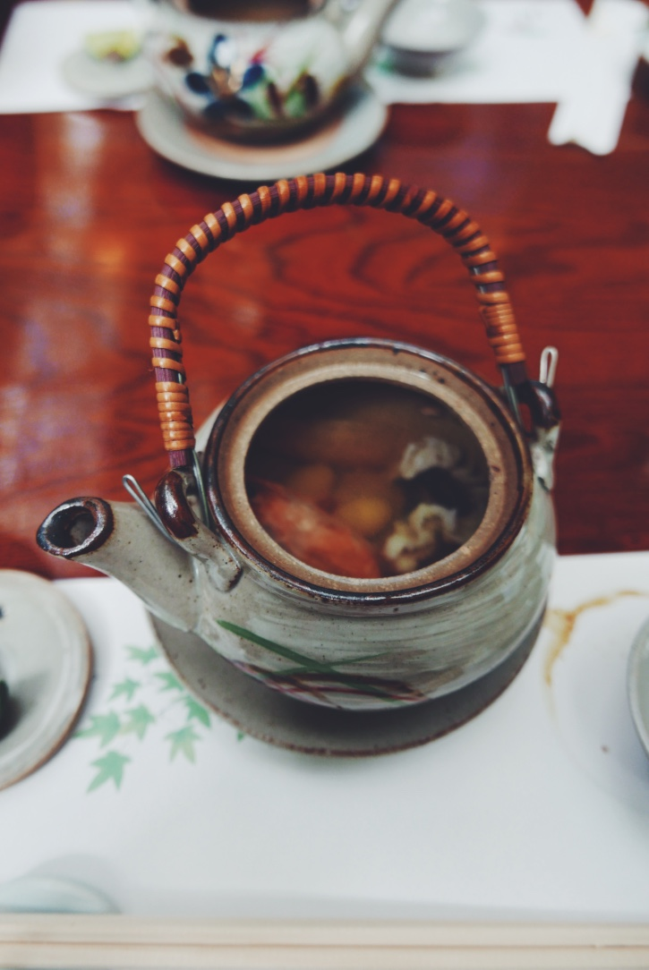 Seafood soup in a teapot (the lid doubled as a serving bowl!).
