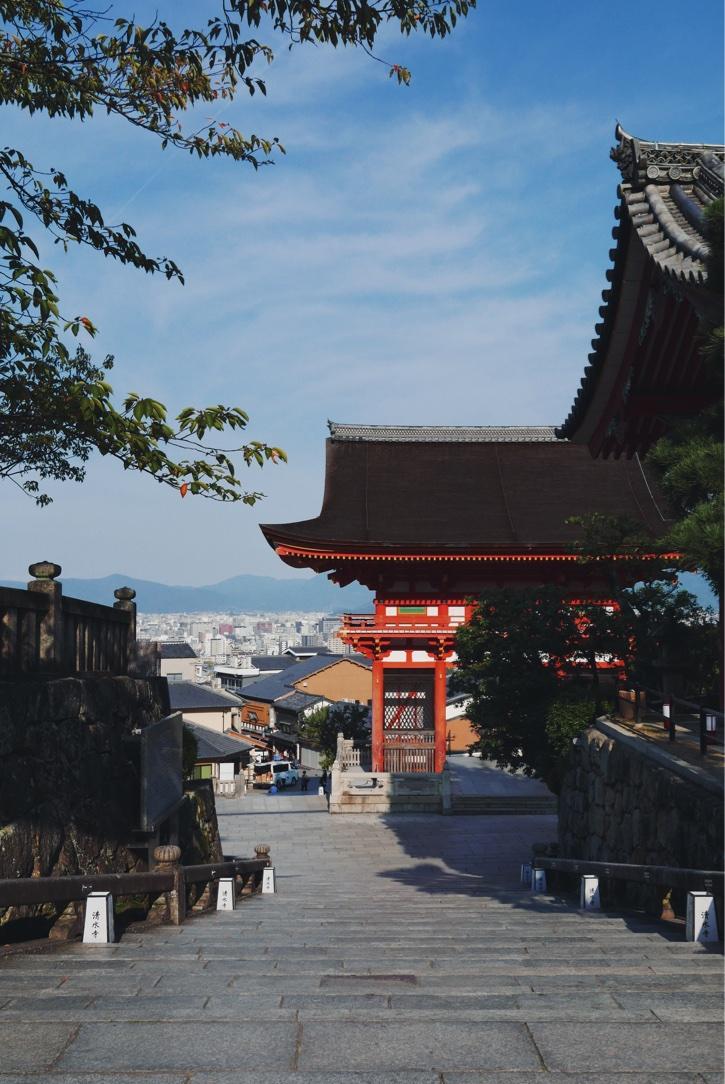 Looking down on the city through the Deva gate at Kiyomizu-dera.