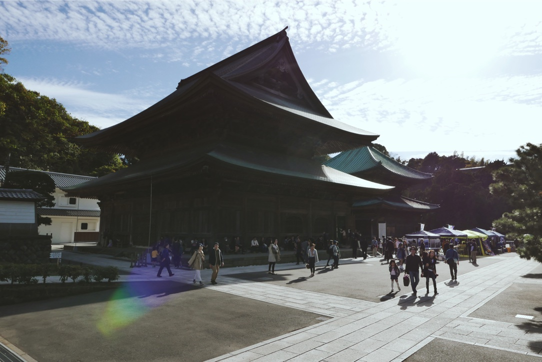 The Hatto (Dharma Hall), the largest wooden temple building in eastern Japan.