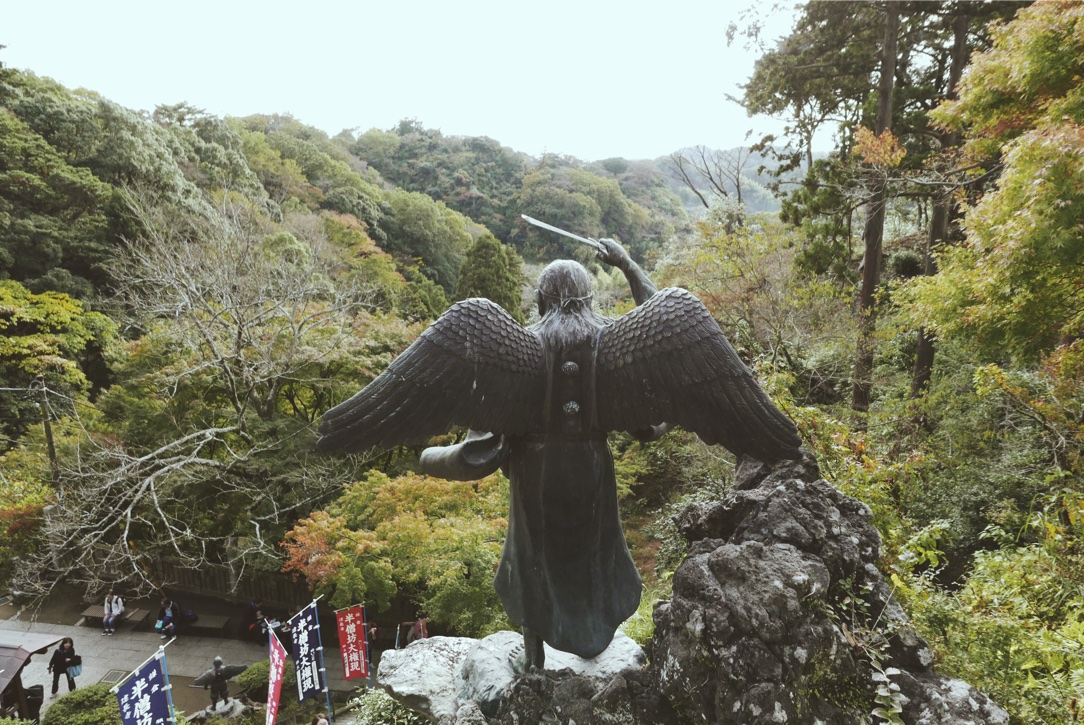 The winged Tengu -a Shinto god -outside Hans-bo.