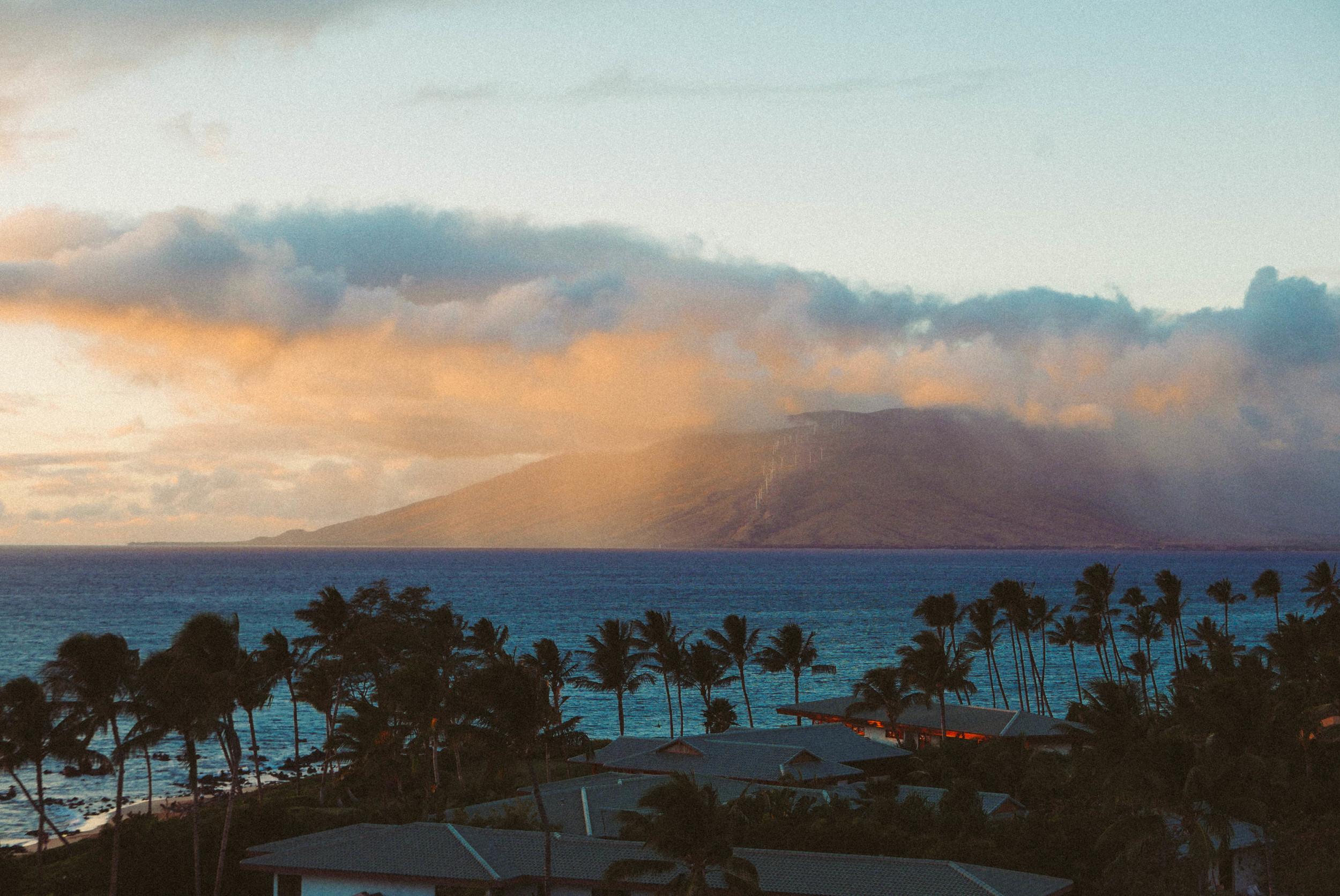 Rain clouds over west Maui.