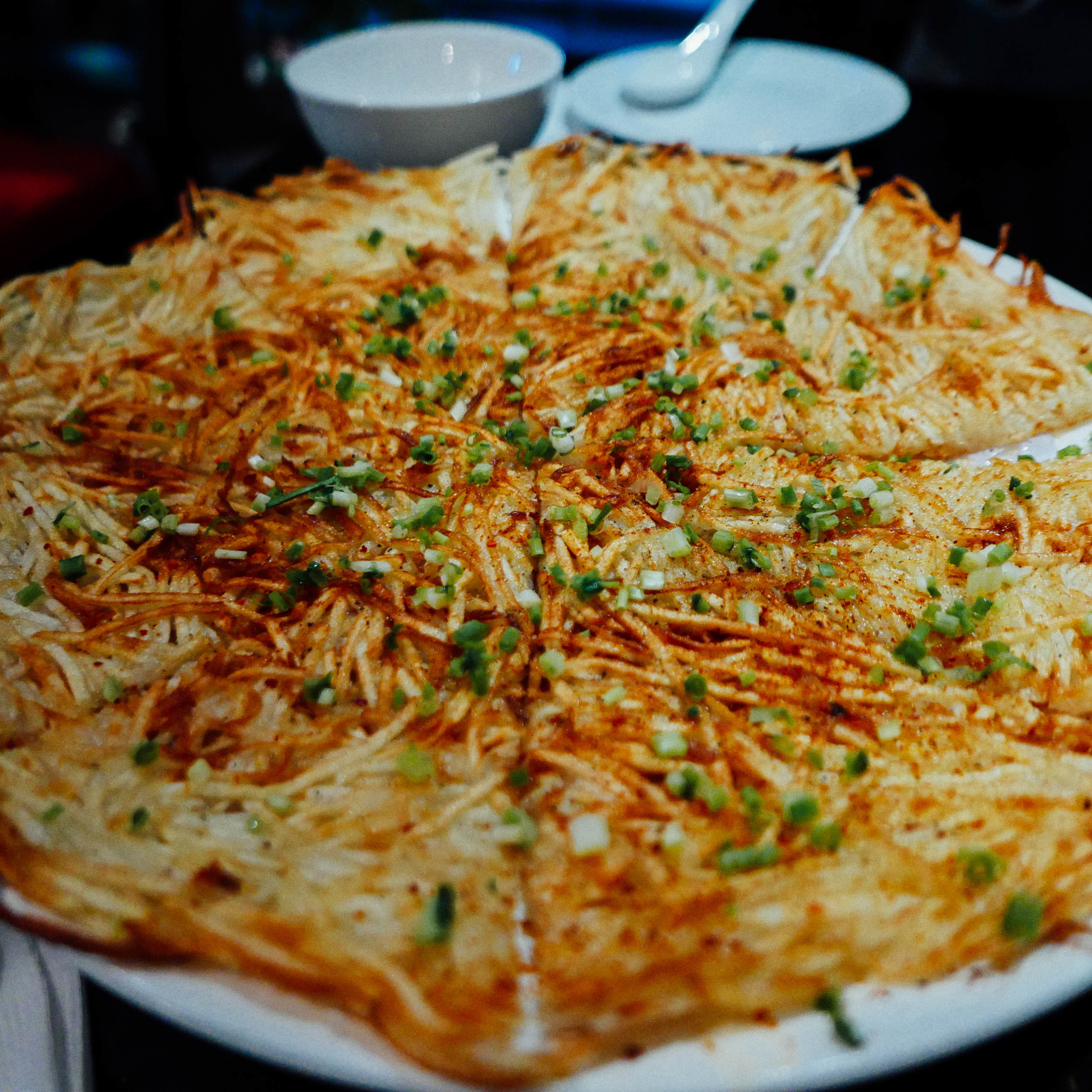 The crispy shredded potato pancake at Southern Barbarian.
