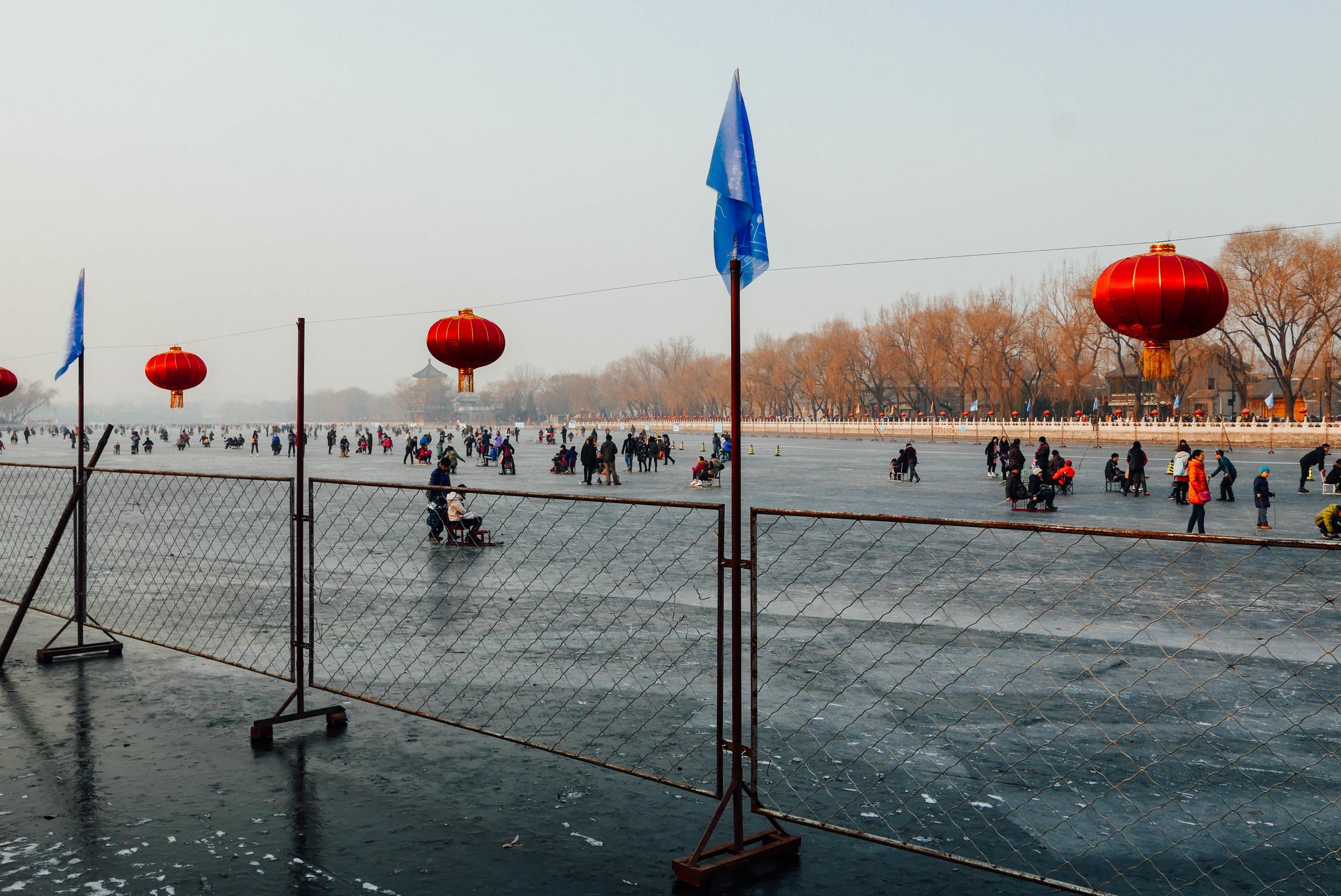 Skating on the frozen Shichahai Lakes.