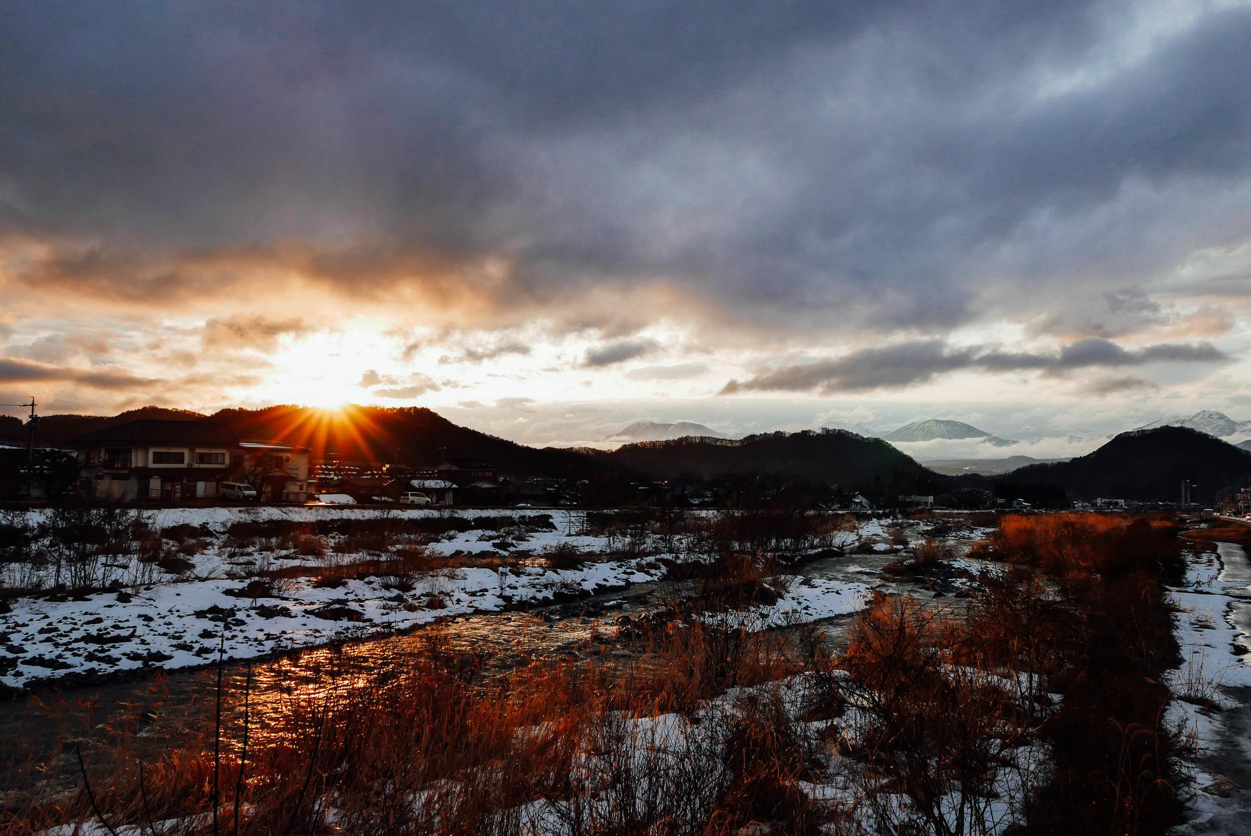 Sunset over Yamanouchi.