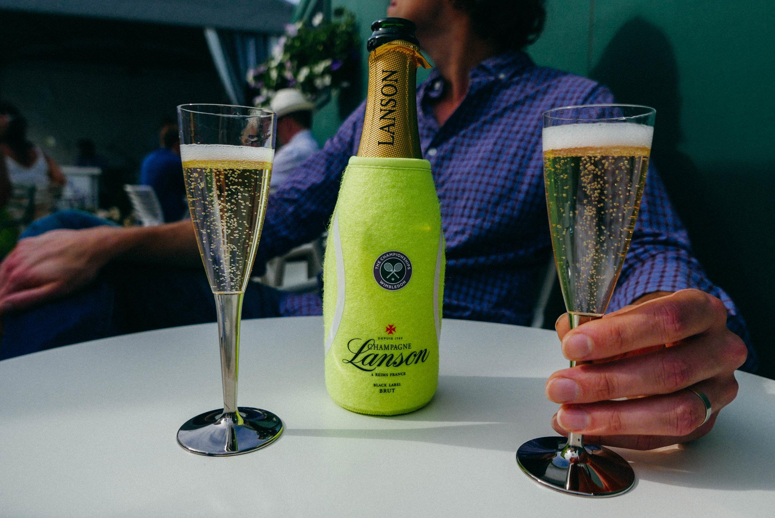 {My most prized London souvenir: a Wimbledon champagne koozie}