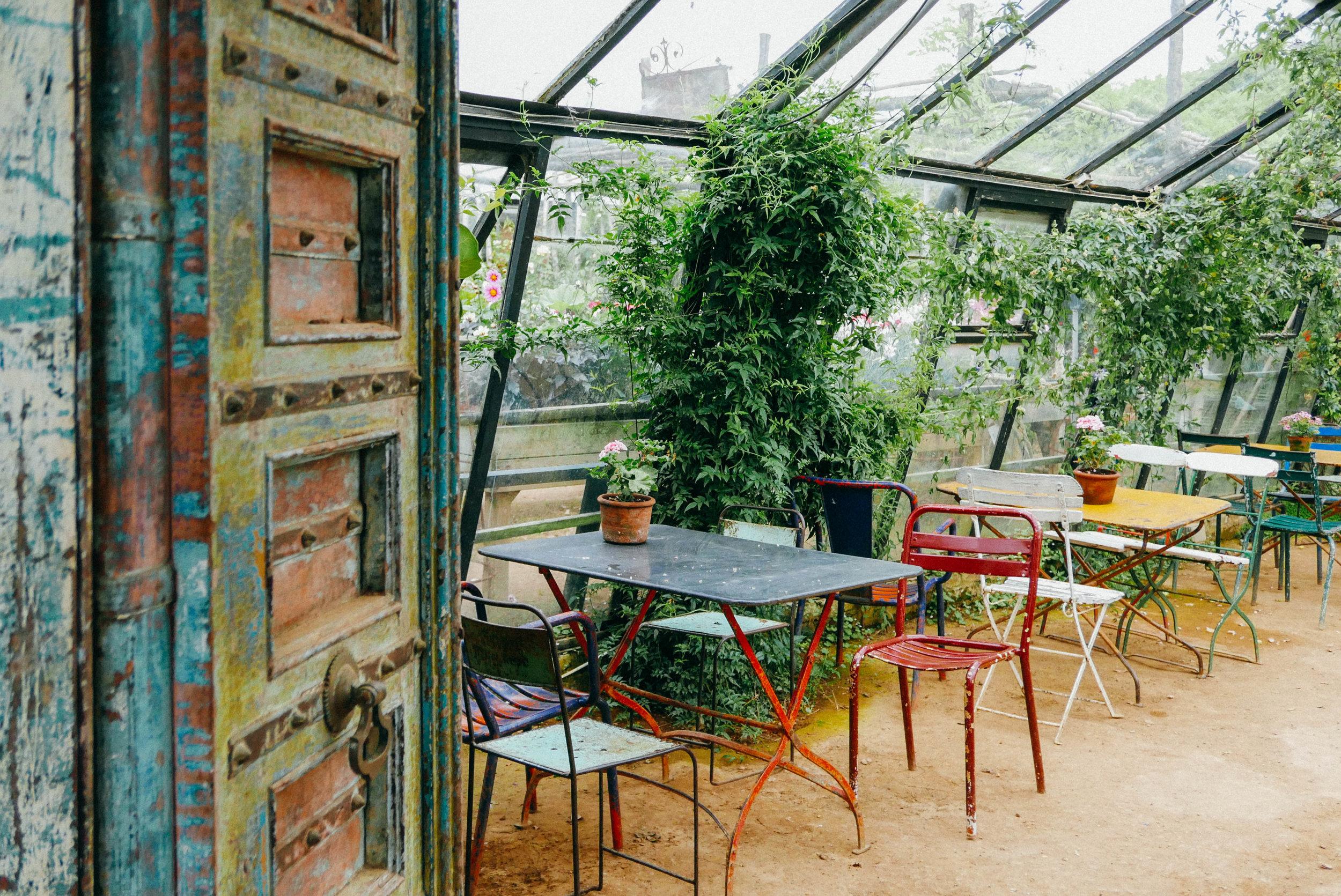 {The teahouse at Petersham Nurseries}