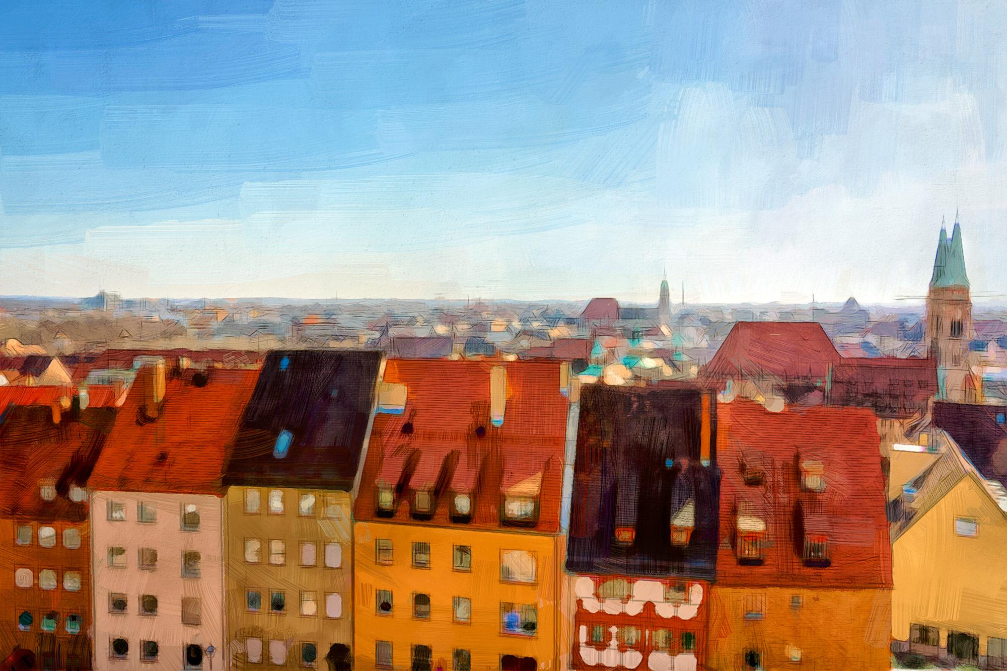 Roof tops in Nuremberg Germany.