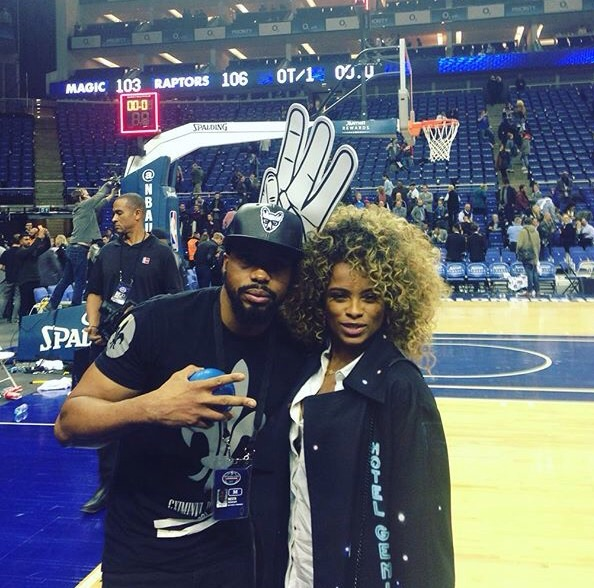Court side BBC 1Xtra Radio Presenter Nesta McGregor with the lovely Fleur East