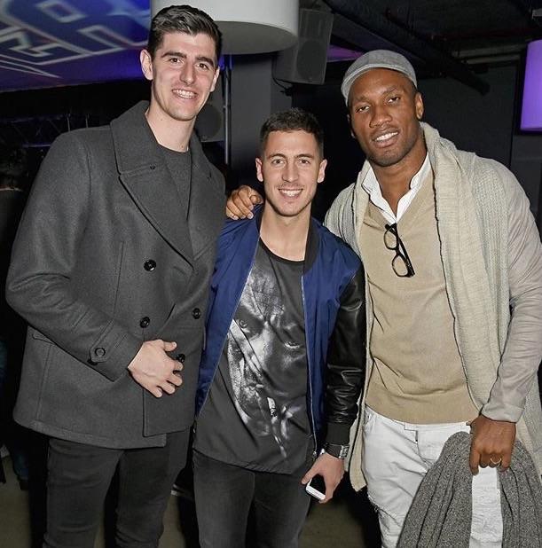 Chelsea FC Premier League stars Thibuat Courtois and Eden Hazard with Former Chelsea Legend Didier Drogba