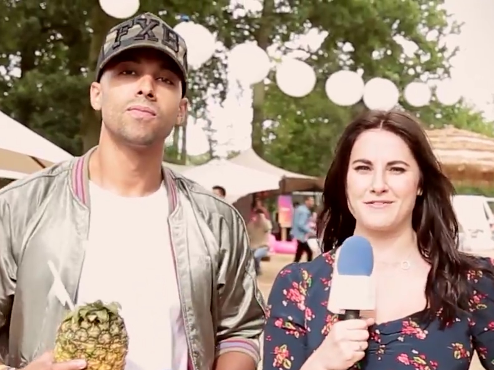 CapitalFM and TV Presenter Marvin Humes wearing the Foxberry Boys FXB Camouflage Trucker at the V Festival