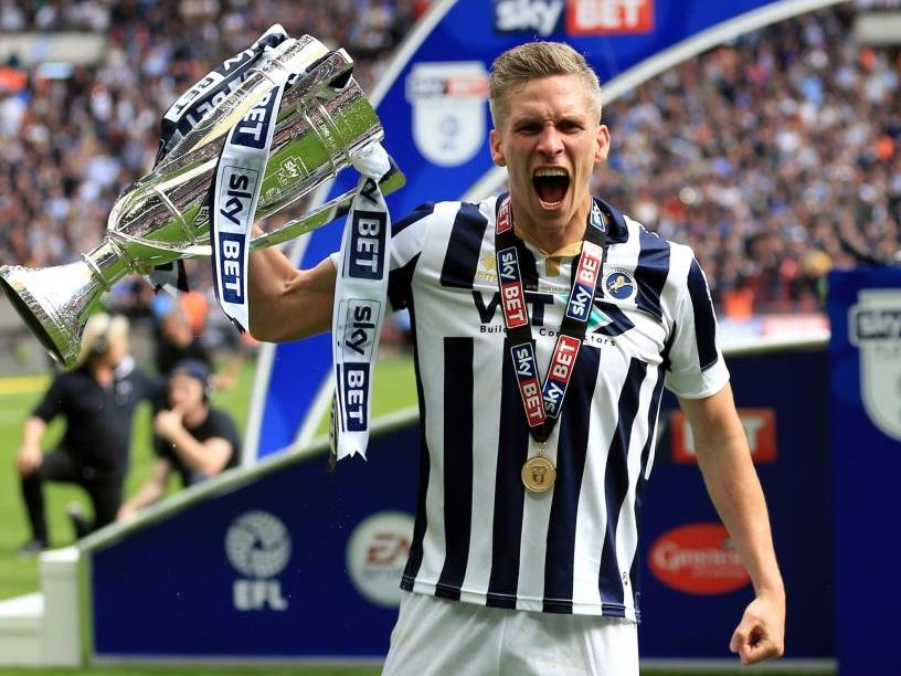 Steve Morison celebrates with EFL Play Off Final Trophy