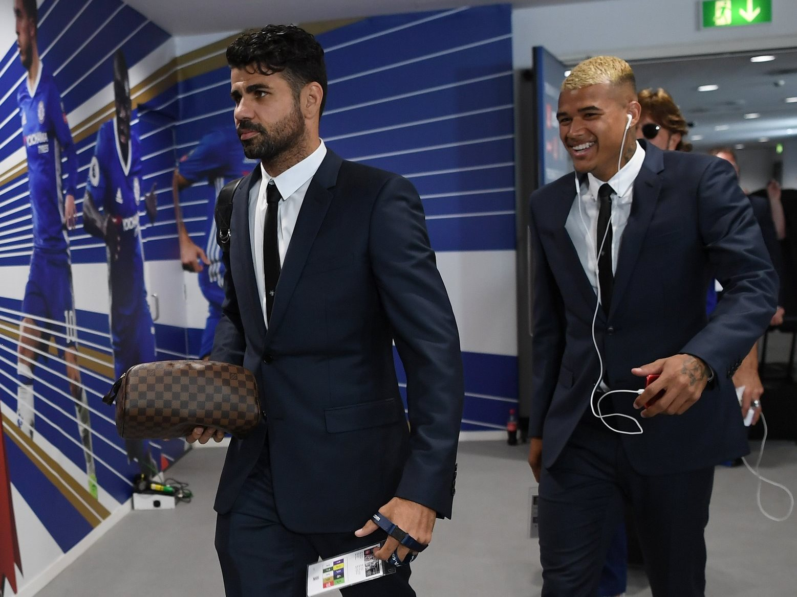 Diego Costa arrives at Wembley in DIOR suit