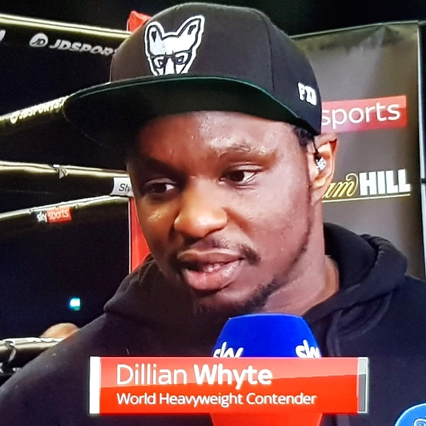 Top tier heavyweight Dillian Whyte on pundit and management duties wearing our trademark Fox Logo during the WBA International Featherweight showdown between #GillDominguez in Peterborough