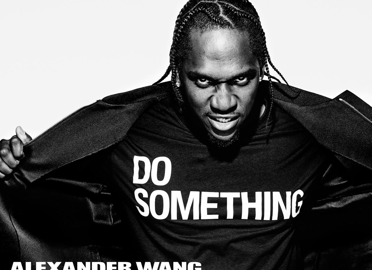 "Pusha T wearing Alexander Wang T Shirt ""Do Something""⎮ Photograph courtesy of Teen Vogue"