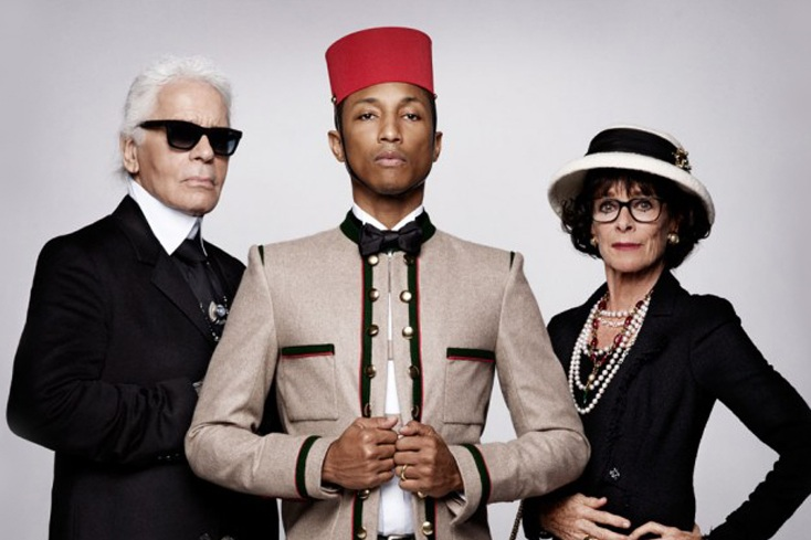 Left Karl Lagerfeld & Centre Pharrell Williams - Photograph courtesy of High Snobiety