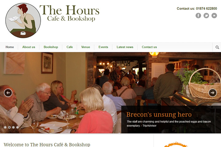 The Hours Café and Bookshop local Brecon website design by Spark Sites