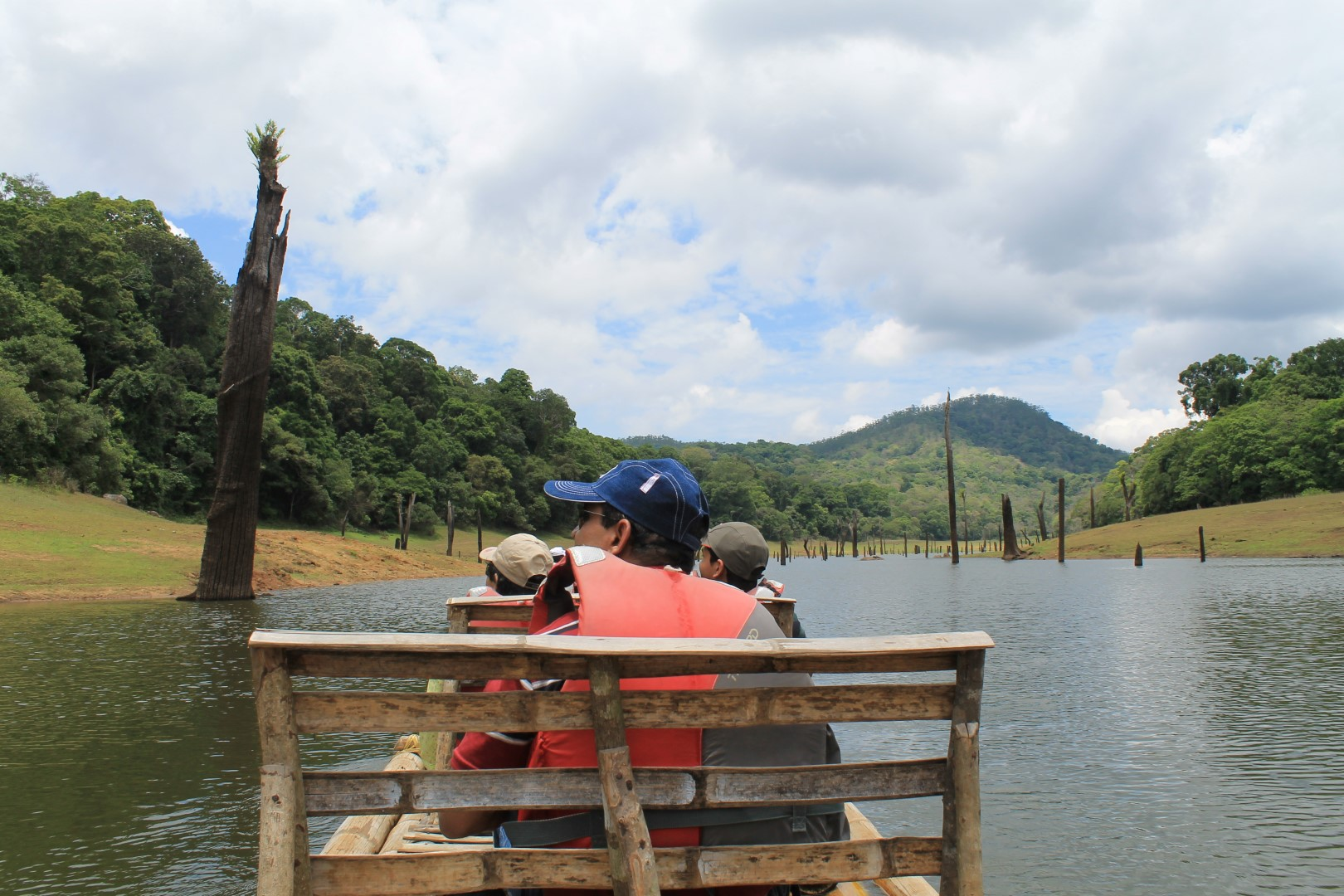 Bamboo Rafting after Jungle Trekking in Thekkady, Kerala, India.