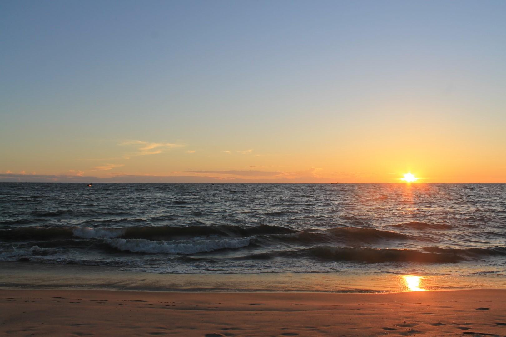 Sunset at marari beach, kerala, india.