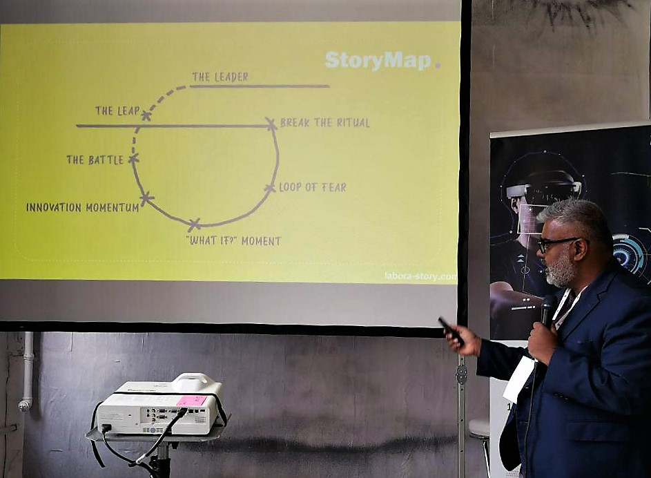 Raymond Miranda taking us through StoryMapping and how each step applies to starting a business.