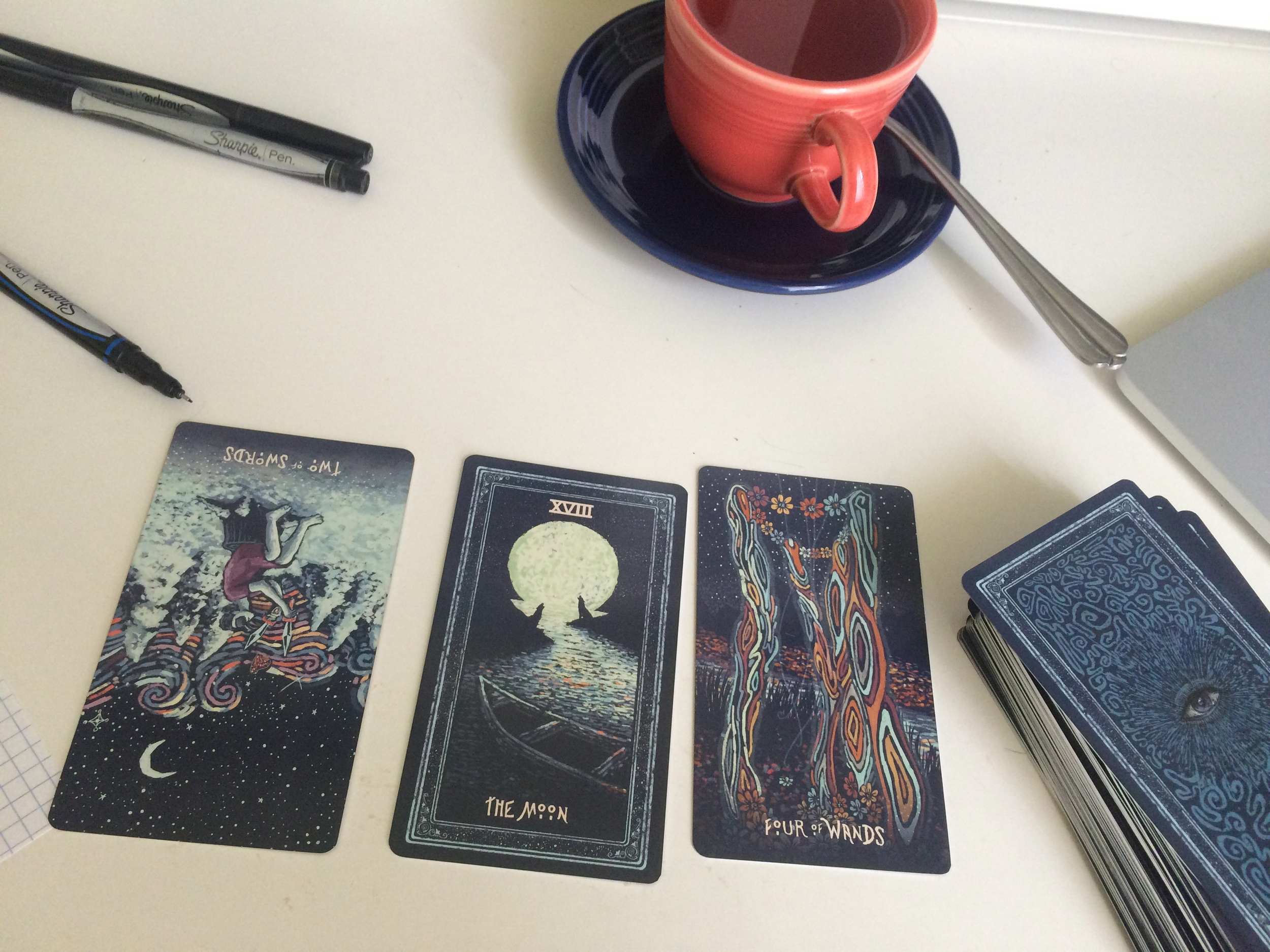 Tea and tarot in the morning.