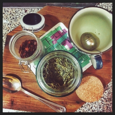 My perfect tea blend: Lung Ching Dragonwell green tea from McNulty's in the West Village and dried rosehips.