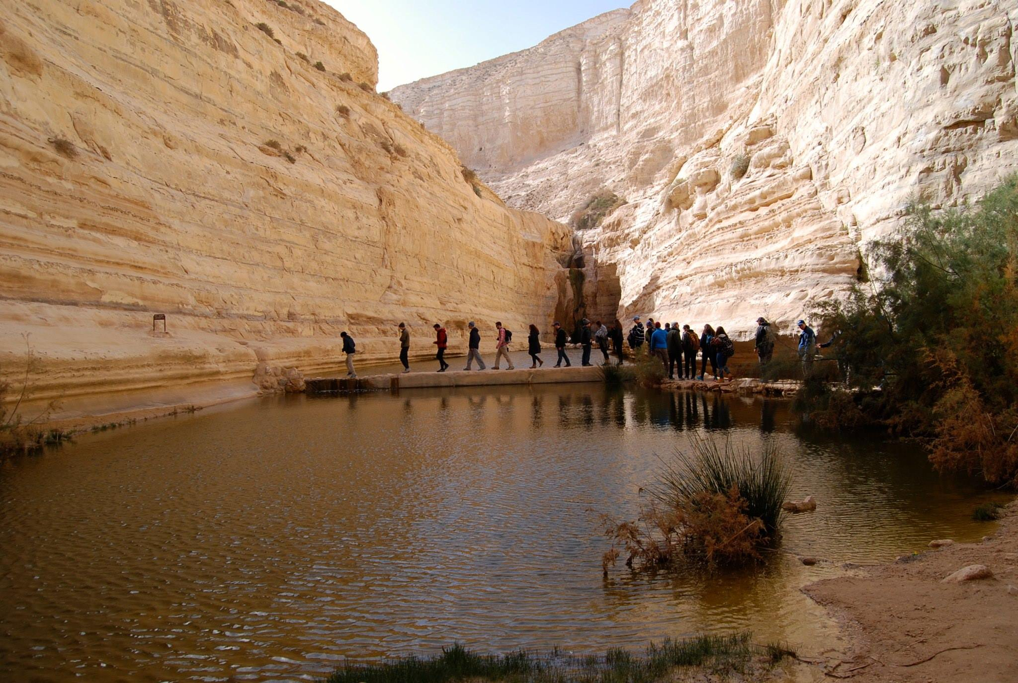 Crossing the Ein Avdat Oasis in the Negev Desert, Israel.