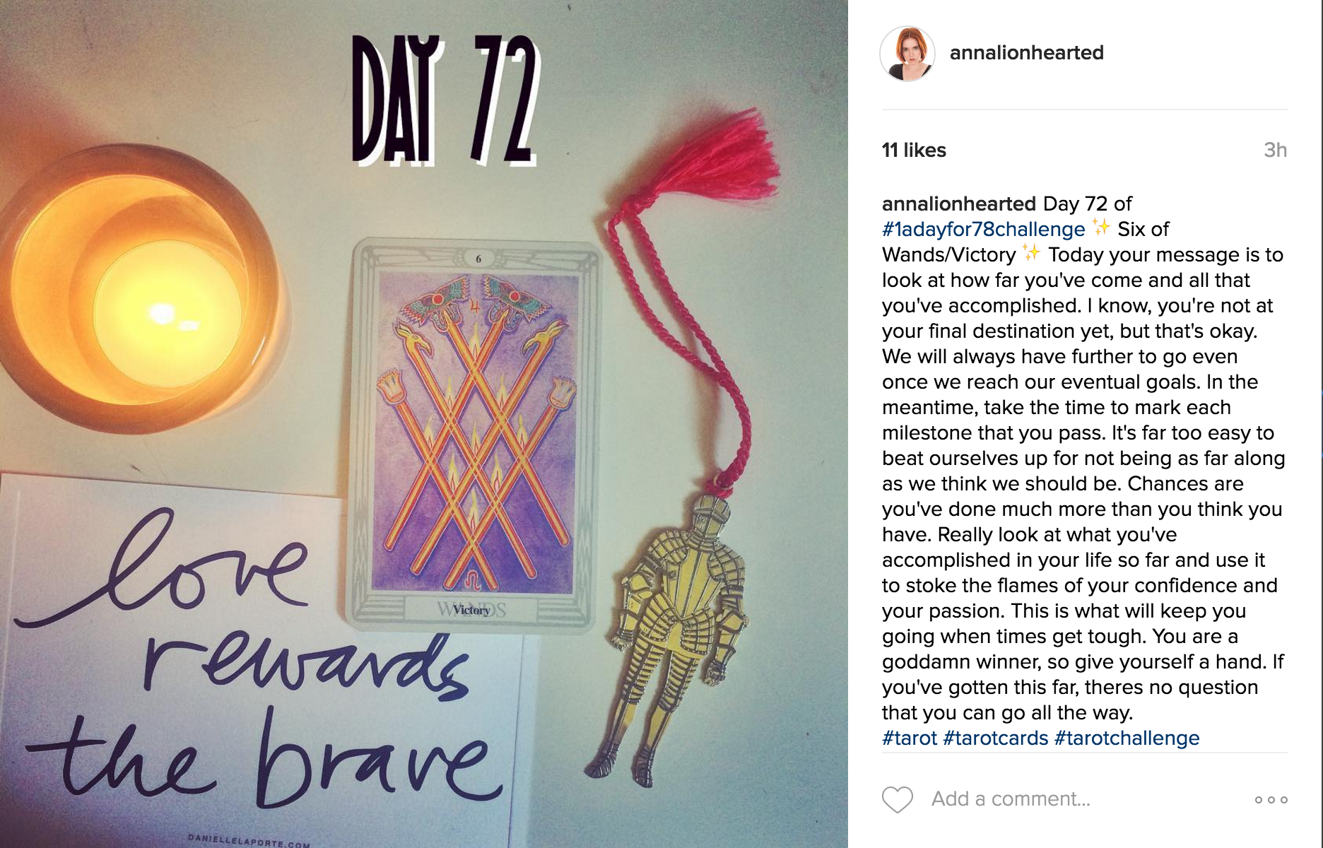 "Today's card from the ""1 a Day for 78 Challenge"" on Instagram. A fitting reminder."