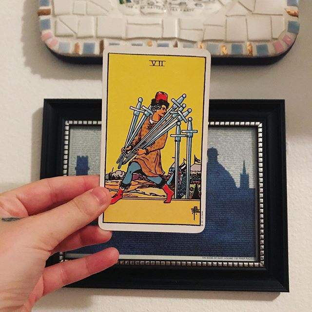 #dailytarot 8/18 ✨ Seven of Swords ✨ Today's #message is to carefully consider your environment and the people around you and ask yourself what's holding you back from being authentic and open about your true self. There are times when the only thing standing in our way is fear, but other times our instincts are fighting to warn us to be cautious. It's up to you to figure out when it's safe to be truly yourself and figure out how to deconstruct the walls you've put up over the years. Remember that our deceptions exist to protect us but they can limit us as well. Trust your intuition and react accordingly. ✨ . . . #waitesmithtarot #tarot #tarotcards #taroteverydamnday #tarotreadersofinstagram #witchythings #witchyvibes #witchlife #witchesofinstagram🔮🌙 #tarotcommunity #tarotdeck #tarotreadings #tarotspread #tarotlove  #modernwitch #witchstagram  #youaremagic #citywitch #spiritjunkie #witchesofig