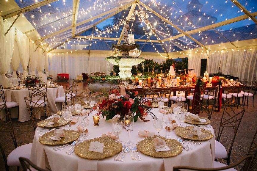 Bistro Lights in Wedding Tent